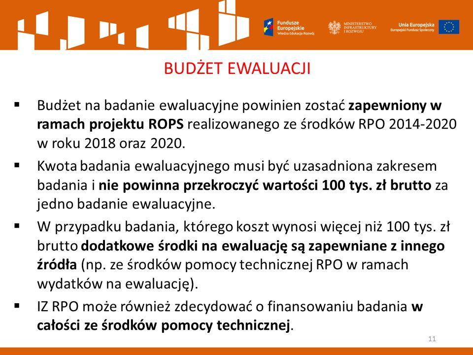 11 BUDŻET EWALUACJI  Budżet na badanie ewaluacyjne powinien zostać zapewniony w ramach projektu ROPS realizowanego ze środków RPO 2014-2020 w roku 2018 oraz 2020.