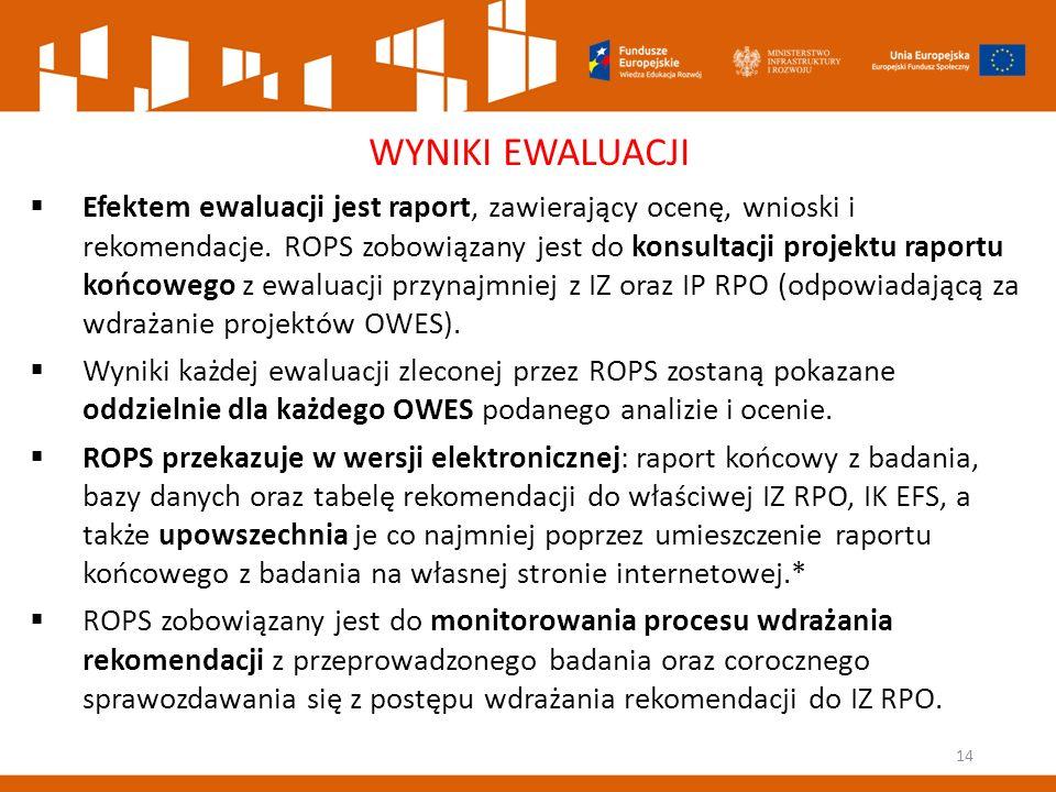 14 WYNIKI EWALUACJI  Efektem ewaluacji jest raport, zawierający ocenę, wnioski i rekomendacje.