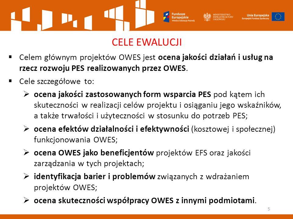 5 CELE EWALUCJI  Celem głównym projektów OWES jest ocena jakości działań i usług na rzecz rozwoju PES realizowanych przez OWES.
