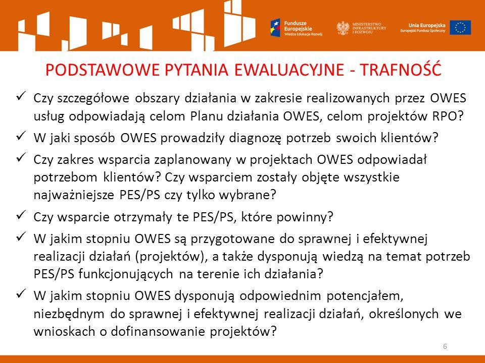 6 PODSTAWOWE PYTANIA EWALUACYJNE - TRAFNOŚĆ Czy szczegółowe obszary działania w zakresie realizowanych przez OWES usług odpowiadają celom Planu działania OWES, celom projektów RPO.