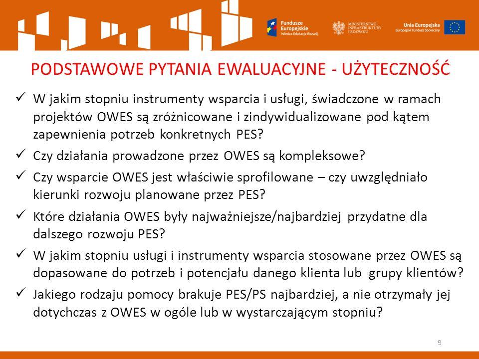 9 PODSTAWOWE PYTANIA EWALUACYJNE - UŻYTECZNOŚĆ W jakim stopniu instrumenty wsparcia i usługi, świadczone w ramach projektów OWES są zróżnicowane i zindywidualizowane pod kątem zapewnienia potrzeb konkretnych PES.