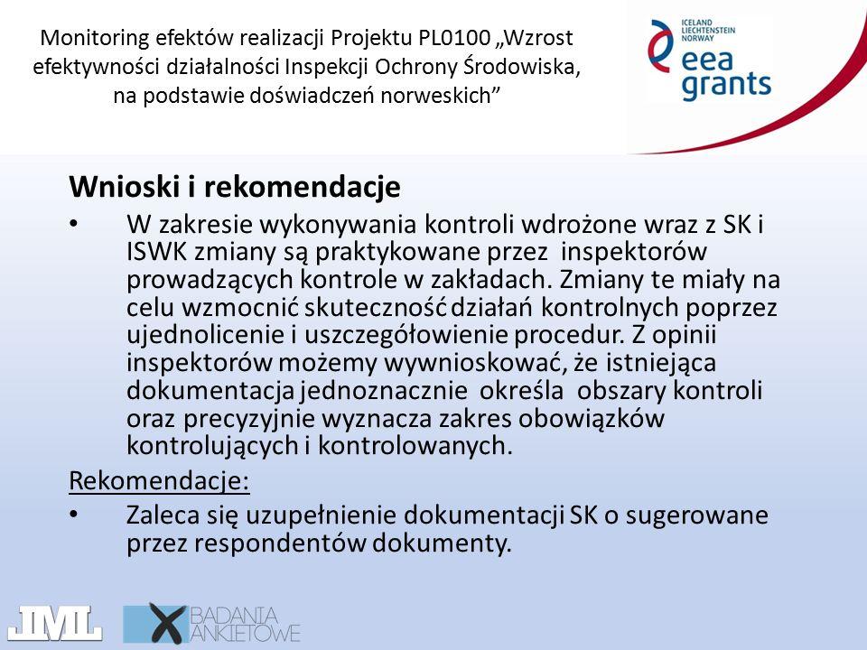"""Monitoring efektów realizacji Projektu PL0100 """"Wzrost efektywności działalności Inspekcji Ochrony Środowiska, na podstawie doświadczeń norweskich"""" Wni"""