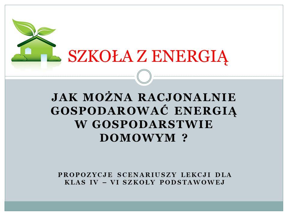SZKOŁA Z ENERGIĄ Cel pracy: Edukacja racjonalnego gospodarowanie energią w domu, Zachęcenie dzieci do oszczędzania energii, Przedstawienie korzyści wynikających ze zmiany sposobu podejścia do używania energii, Kształtowanie proekologicznych postaw uczniów,