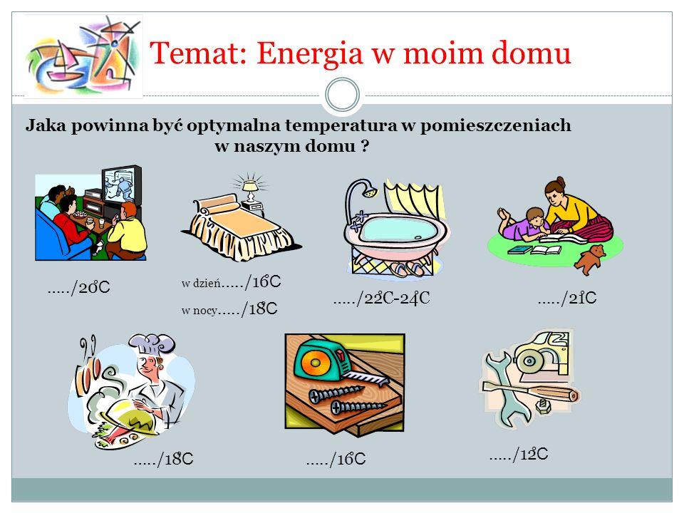 Temat: Energia w moim domu Jaka powinna być optymalna temperatura w pomieszczeniach w naszym domu ? …../12 ̊ C w dzień …../16 ̊ C …../22 ̊ C-24 ̊ C…..