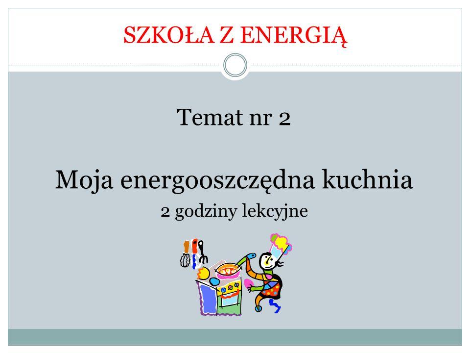 Temat nr 2 Moja energooszczędna kuchnia 2 godziny lekcyjne SZKOŁA Z ENERGIĄ