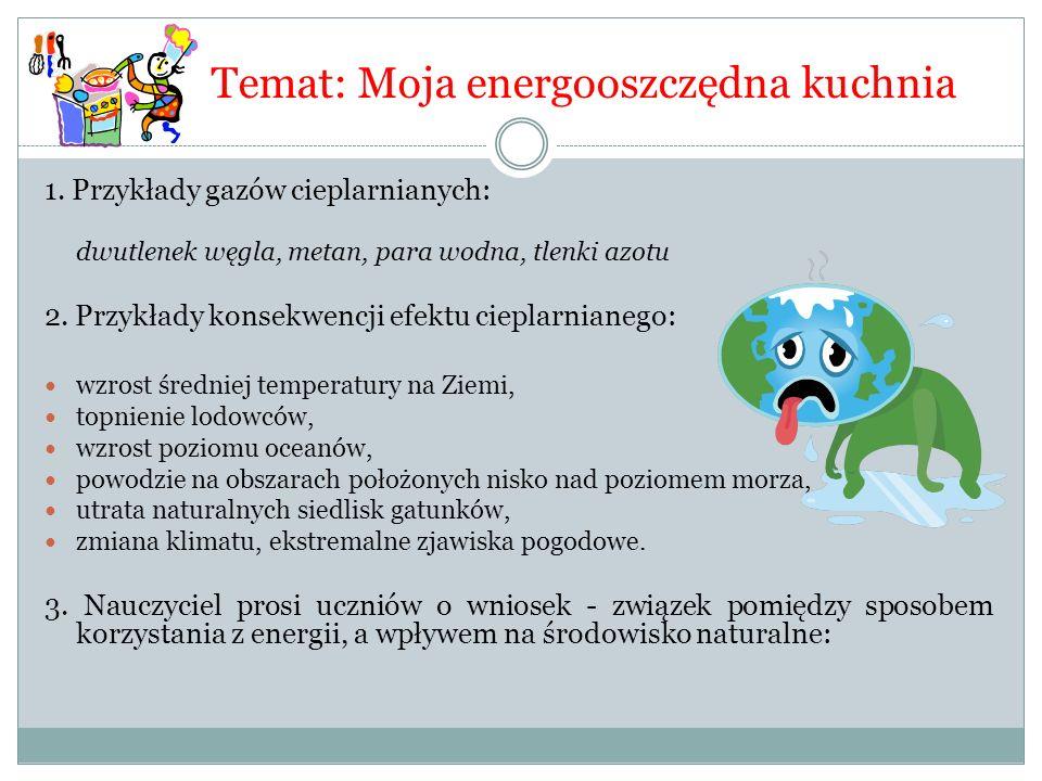 Temat: Moja energooszczędna kuchnia 1. Przykłady gazów cieplarnianych: dwutlenek węgla, metan, para wodna, tlenki azotu 2. Przykłady konsekwencji efek