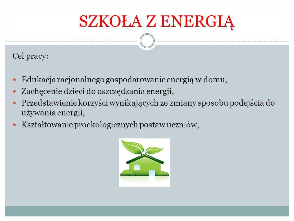 SZKOŁA Z ENERGIĄ Cel pracy: Edukacja racjonalnego gospodarowanie energią w domu, Zachęcenie dzieci do oszczędzania energii, Przedstawienie korzyści wy