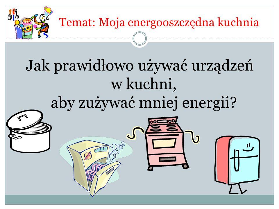 Temat: Moja energooszczędna kuchnia Jak prawidłowo używać urządzeń w kuchni, aby zużywać mniej energii?