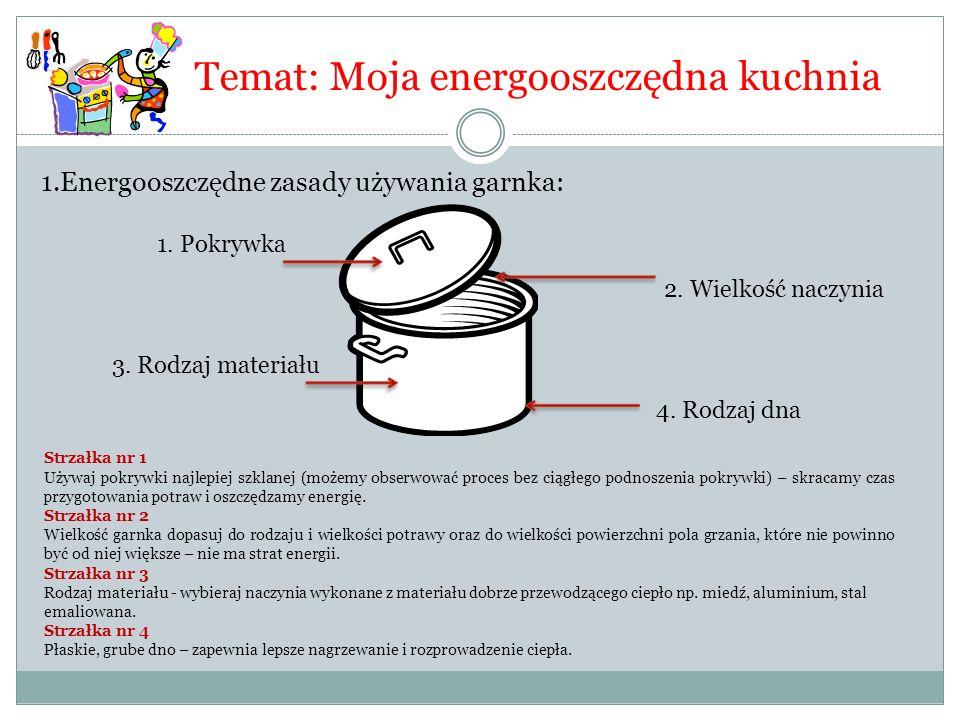 Temat: Moja energooszczędna kuchnia 1.Energooszczędne zasady używania garnka: 1. Pokrywka 2. Wielkość naczynia 4. Rodzaj dna 3. Rodzaj materiału Strza