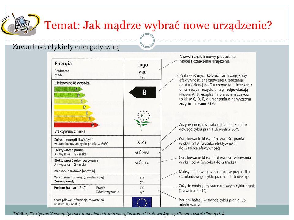 """Zawartość etykiety energetycznej Temat: Jak mądrze wybrać nowe urządzenie? Źródło: """"Efektywność energetyczna i odnawialne źródła energii w domu"""" Krajo"""