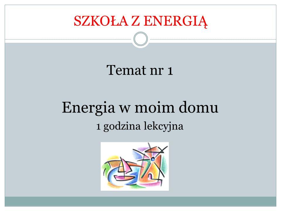 Temat : Energia w moim domu Cele ogólne lekcji: Uczeń zna podział wydatków na energię w domu, Uczeń odczytuje dane z wykresu, Uczeń wie, co pochłania najwięcej energii w domu, Poznaje sposoby efektywnego wykorzystywania ciepła w domu, Poznaje optymalne wartości temperatury w poszczególnych pomieszczeniach w domu,