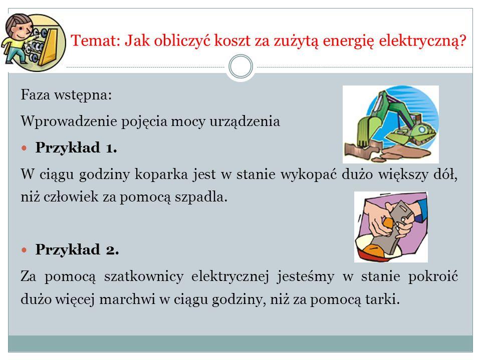 Temat: Jak obliczyć koszt za zużytą energię elektryczną? Faza wstępna: Wprowadzenie pojęcia mocy urządzenia Przykład 1. W ciągu godziny koparka jest w