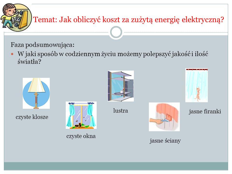 Temat: Jak obliczyć koszt za zużytą energię elektryczną? Faza podsumowująca: W jaki sposób w codziennym życiu możemy polepszyć jakość i ilość światła?