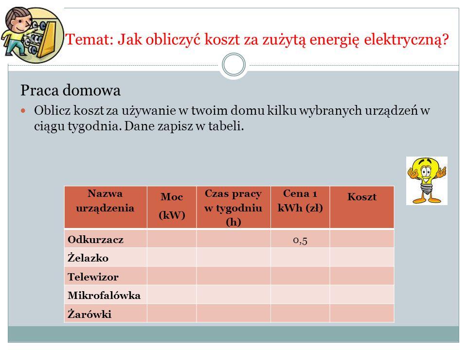 Temat: Jak obliczyć koszt za zużytą energię elektryczną? Praca domowa Oblicz koszt za używanie w twoim domu kilku wybranych urządzeń w ciągu tygodnia.