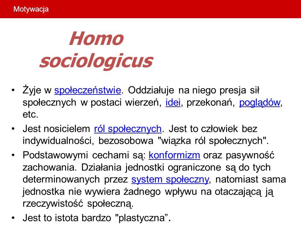 Homo sociologicus Żyje w społeczeństwie. Oddziałuje na niego presja sił społecznych w postaci wierzeń, idei, przekonań, poglądów, etc.społeczeństwieid
