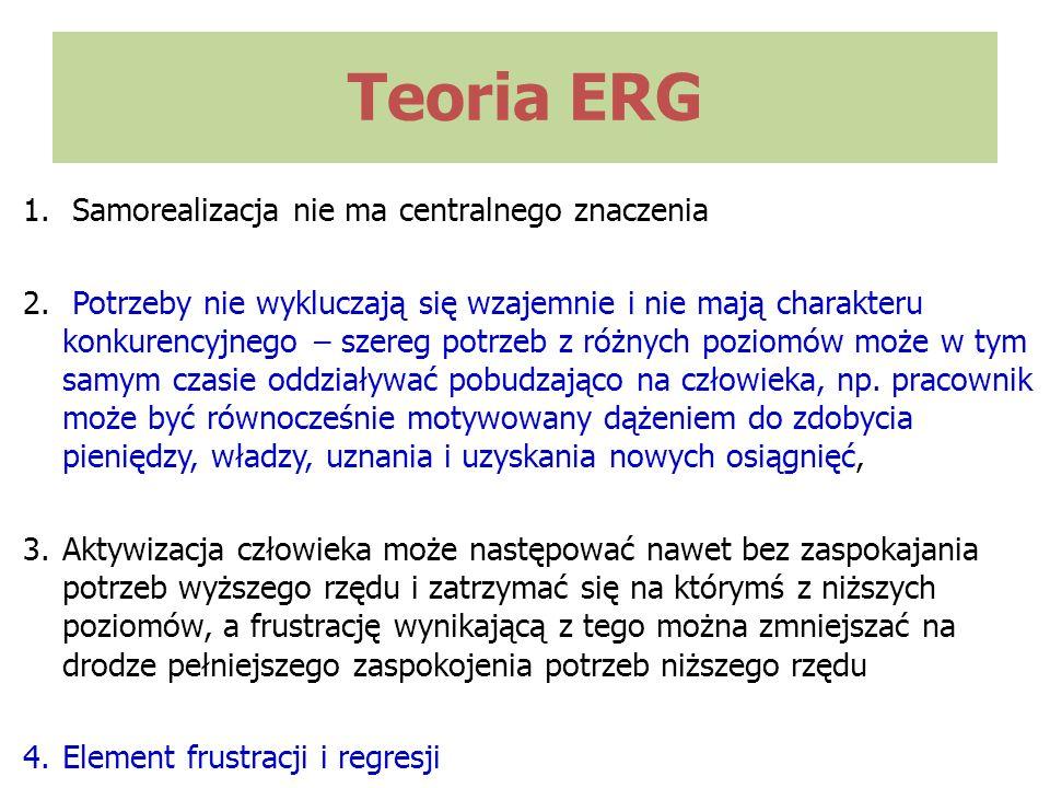 Teoria ERG 1. Samorealizacja nie ma centralnego znaczenia 2. Potrzeby nie wykluczają się wzajemnie i nie mają charakteru konkurencyjnego – szereg potr