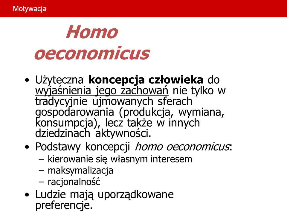 Homo oeconomicus Użyteczna koncepcja człowieka do wyjaśnienia jego zachowań nie tylko w tradycyjnie ujmowanych sferach gospodarowania (produkcja, wymi