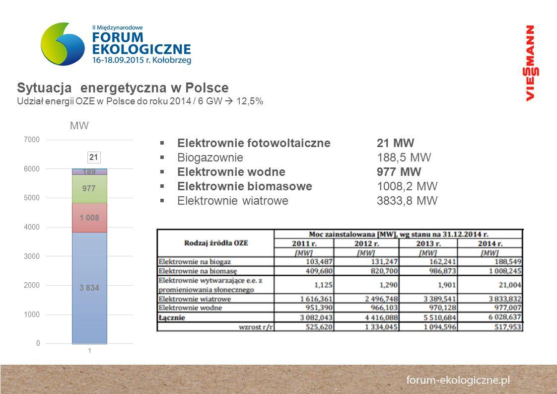  Elektrownie fotowoltaiczne21 MW  Biogazownie 188,5 MW  Elektrownie wodne 977 MW  Elektrownie biomasowe 1008,2 MW  Elektrownie wiatrowe3833,8 MW Sytuacja energetyczna w Polsce Udział energii OZE w Polsce do roku 2014 / 6 GW  12,5%