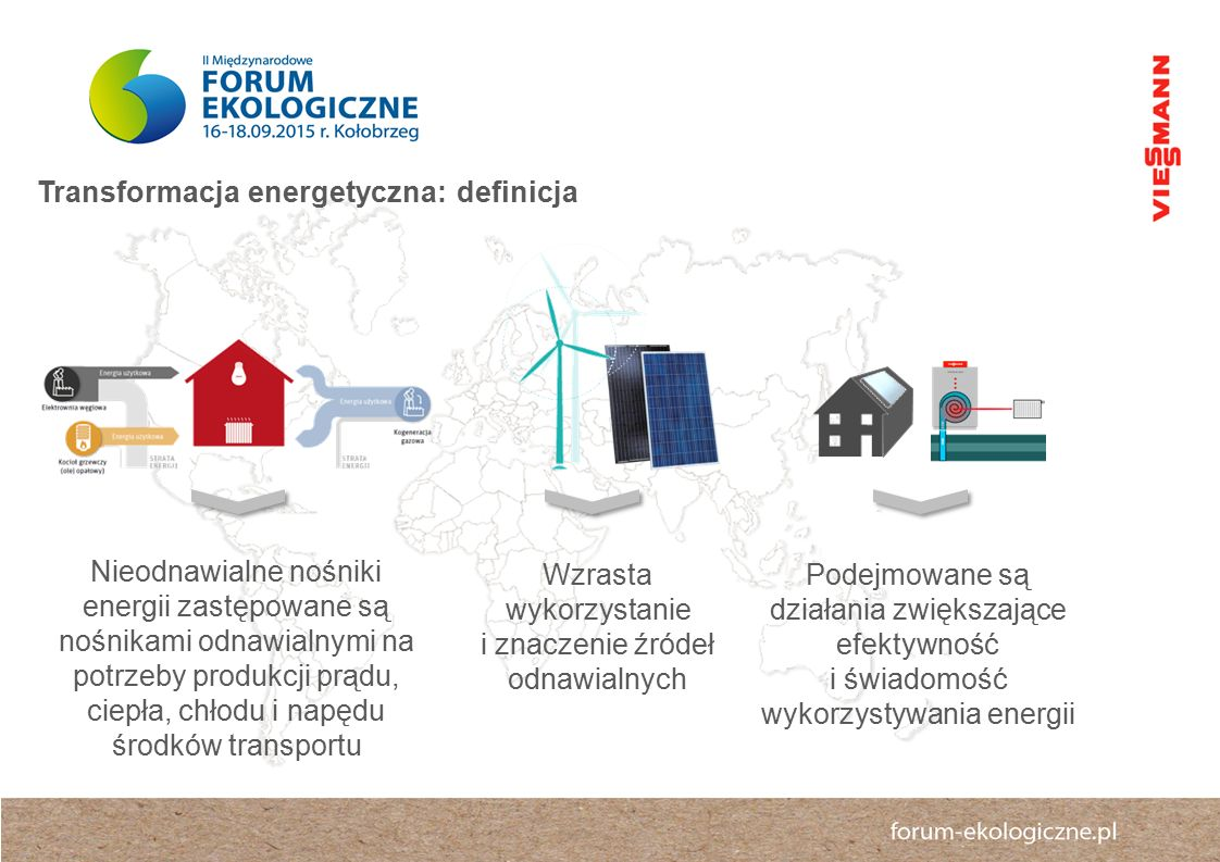 Nieodnawialne nośniki energii zastępowane są nośnikami odnawialnymi na potrzeby produkcji prądu, ciepła, chłodu i napędu środków transportu Wzrasta wykorzystanie i znaczenie źródeł odnawialnych Podejmowane są działania zwiększające efektywność i świadomość wykorzystywania energii Transformacja energetyczna: definicja