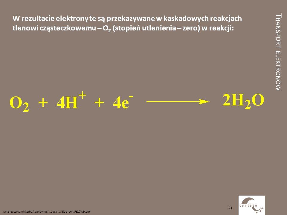 T RANSPORT ELEKTRONÓW W rezultacie elektrony te są przekazywane w kaskadowych reakcjach tlenowi cząsteczkowemu – O 2 (stopień utlenienia – zero) w rea