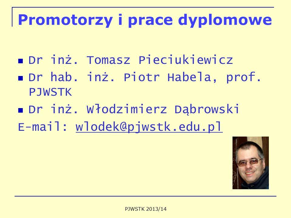 Promotorzy i prace dyplomowe Dr inż. Tomasz Pieciukiewicz Dr hab. inż. Piotr Habela, prof. PJWSTK Dr inż. Włodzimierz Dąbrowski E-mail: wlodek@pjwstk.