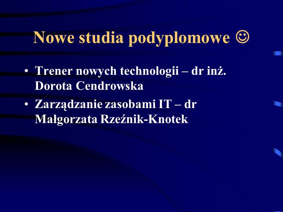 Nowe studia podyplomowe Trener nowych technologii – dr inż.