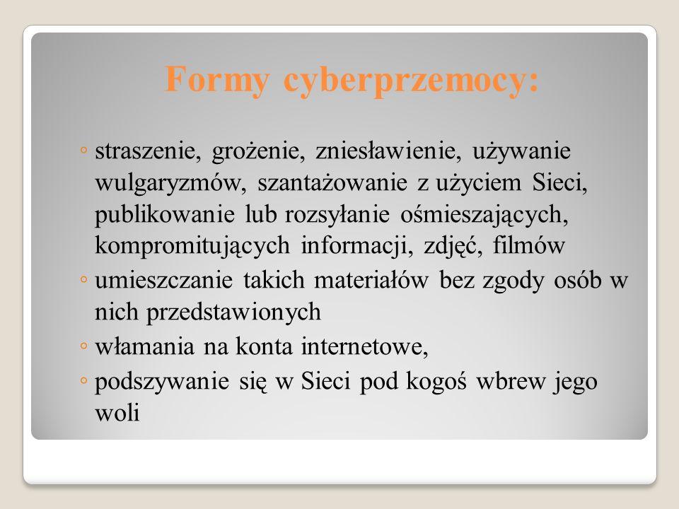 Formy cyberprzemocy: ◦ straszenie, grożenie, zniesławienie, używanie wulgaryzmów, szantażowanie z użyciem Sieci, publikowanie lub rozsyłanie ośmieszaj