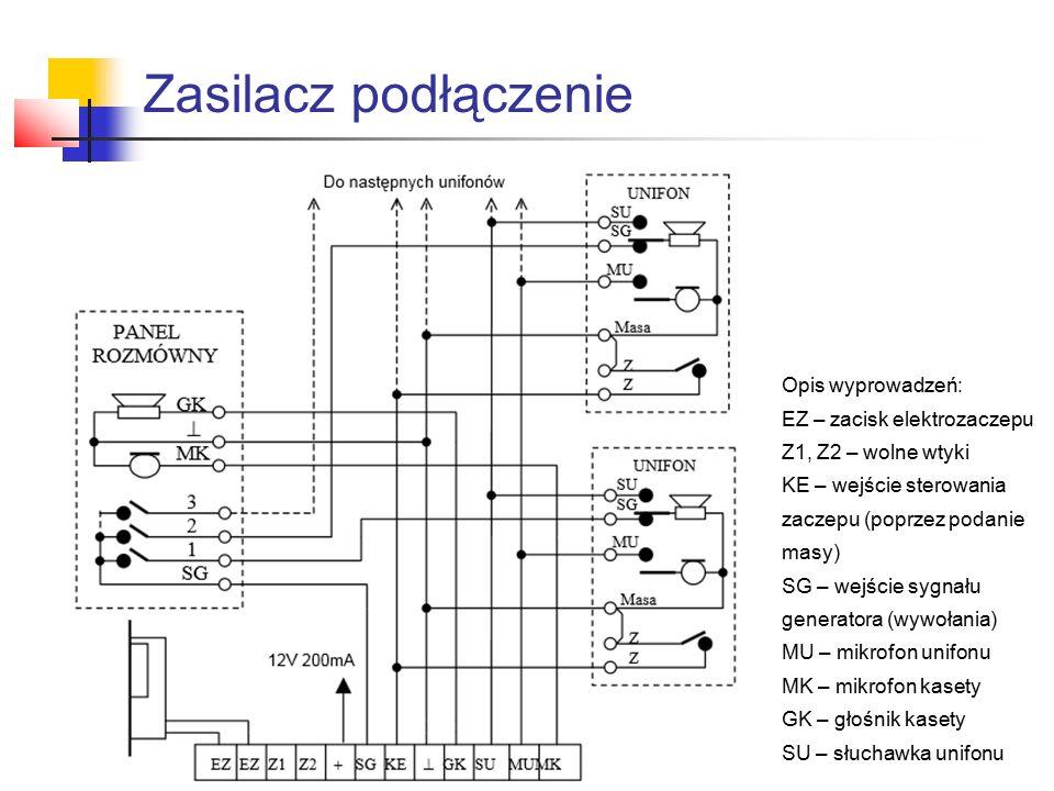 Zasilacz podłączenie Opis wyprowadzeń: EZ – zacisk elektrozaczepu Z1, Z2 – wolne wtyki KE – wejście sterowania zaczepu (poprzez podanie masy) SG – wej
