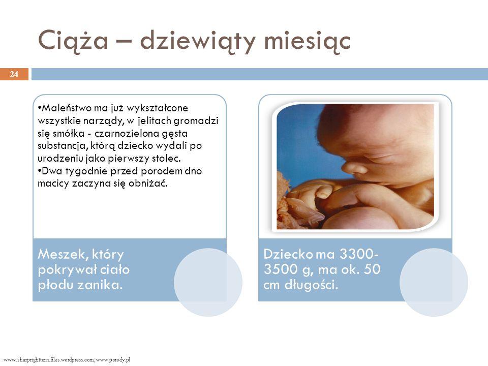 Ciąża – dziewiąty miesiąc Maleństwo ma już wykształcone wszystkie narządy, w jelitach gromadzi się smółka - czarnozielona gęsta substancja, którą dziecko wydali po urodzeniu jako pierwszy stolec.