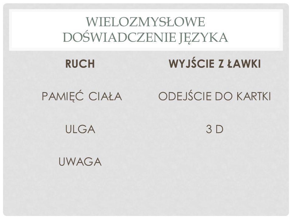 1 UCZEŃ = 1 SŁOWO THE TEACHER IS UNDER THE CHAIR