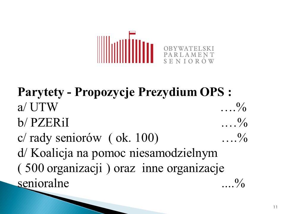 11 Parytety - Propozycje Prezydium OPS : a/ UTW ….% b/ PZERiI.…% c/ rady seniorów ( ok.