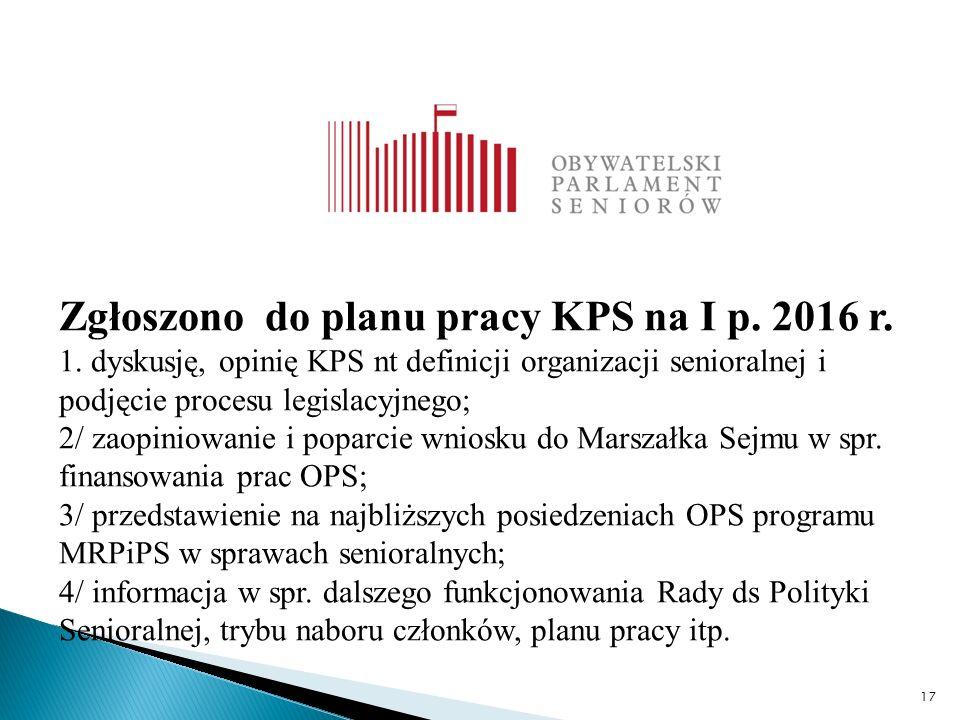 17 Zgłoszono do planu pracy KPS na I p. 2016 r. 1.