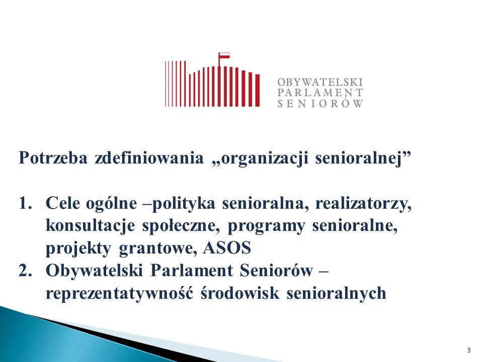 """3 Potrzeba zdefiniowania """"organizacji senioralnej 1.Cele ogólne –polityka senioralna, realizatorzy, konsultacje społeczne, programy senioralne, projekty grantowe, ASOS 2.Obywatelski Parlament Seniorów – reprezentatywność środowisk senioralnych"""