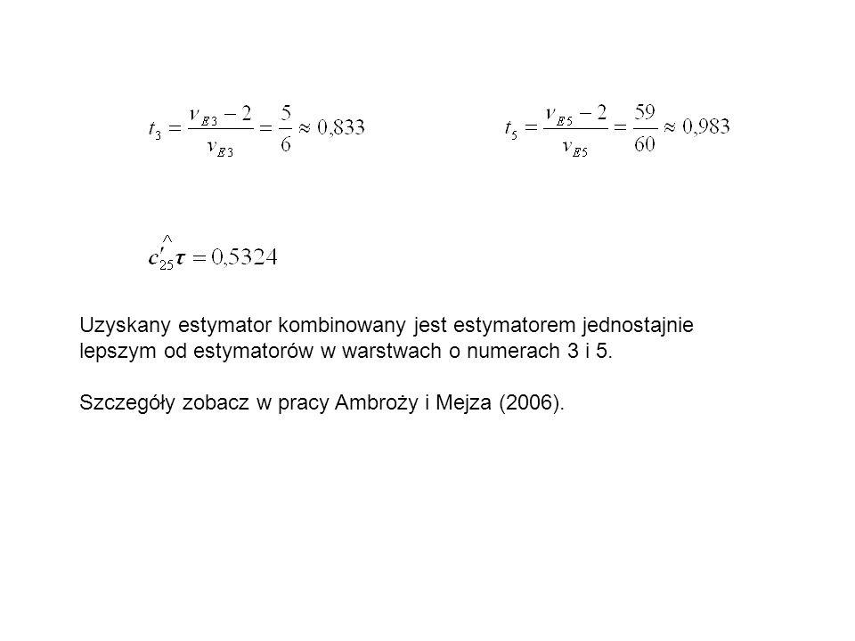 Uzyskany estymator kombinowany jest estymatorem jednostajnie lepszym od estymatorów w warstwach o numerach 3 i 5. Szczegóły zobacz w pracy Ambroży i M