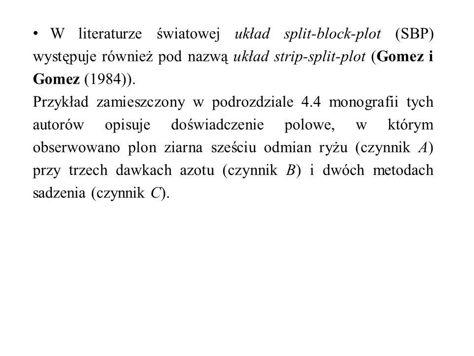 W literaturze światowej układ split-block-plot (SBP) występuje również pod nazwą układ strip-split-plot (Gomez i Gomez (1984)). Przykład zamieszczony