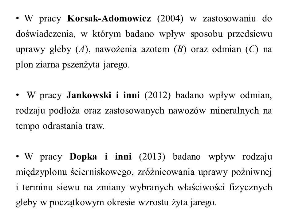 W pracy Korsak-Adomowicz (2004) w zastosowaniu do doświadczenia, w którym badano wpływ sposobu przedsiewu uprawy gleby (A), nawożenia azotem (B) oraz