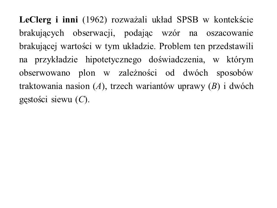 LeClerg i inni (1962) rozważali układ SPSB w kontekście brakujących obserwacji, podając wzór na oszacowanie brakującej wartości w tym układzie. Proble