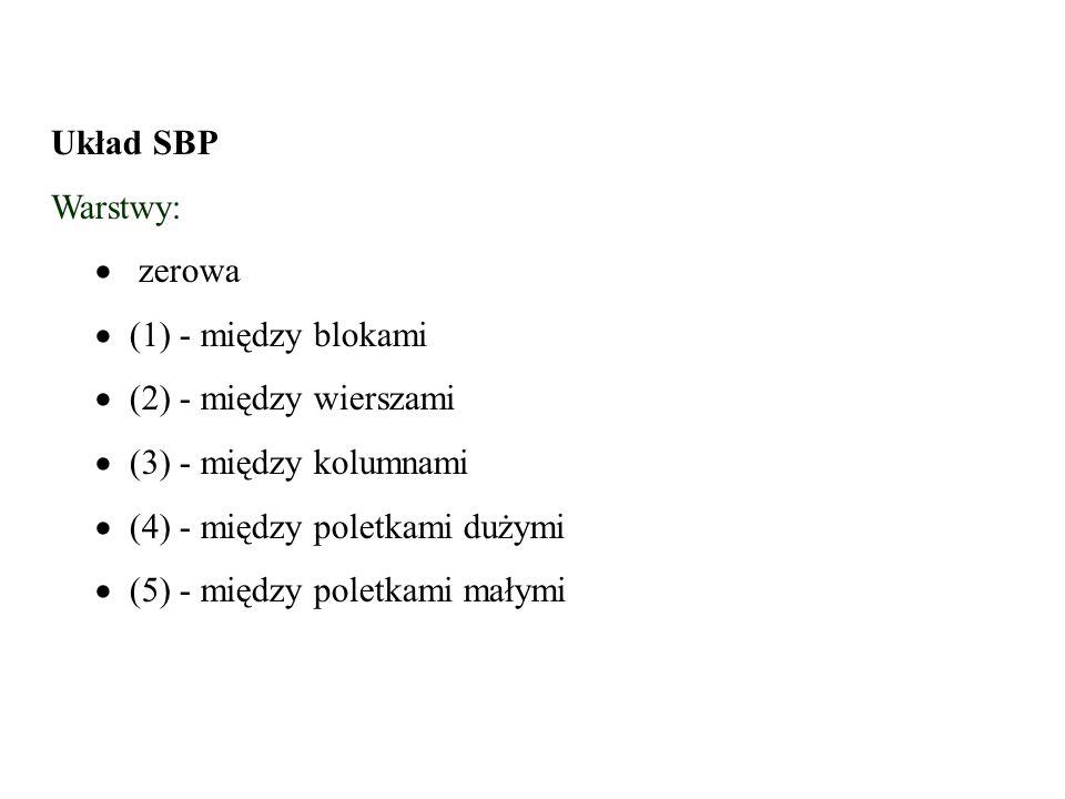 Układ SBP Warstwy:   zerowa   (1) - między blokami  (2) - między wierszami  (3) - między kolumnami  (4) - między poletkami dużymi  (5) - międz