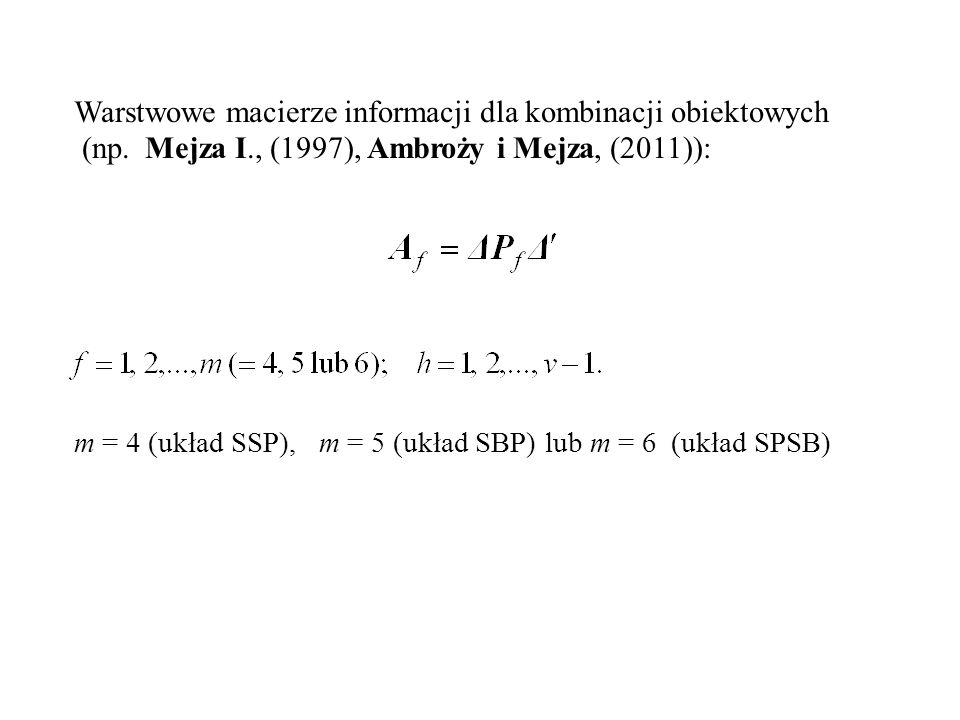 Warstwowe macierze informacji dla kombinacji obiektowych (np. Mejza I., (1997), Ambroży i Mejza, (2011)): m = 4 (układ SSP), m = 5 (układ SBP) lub m =
