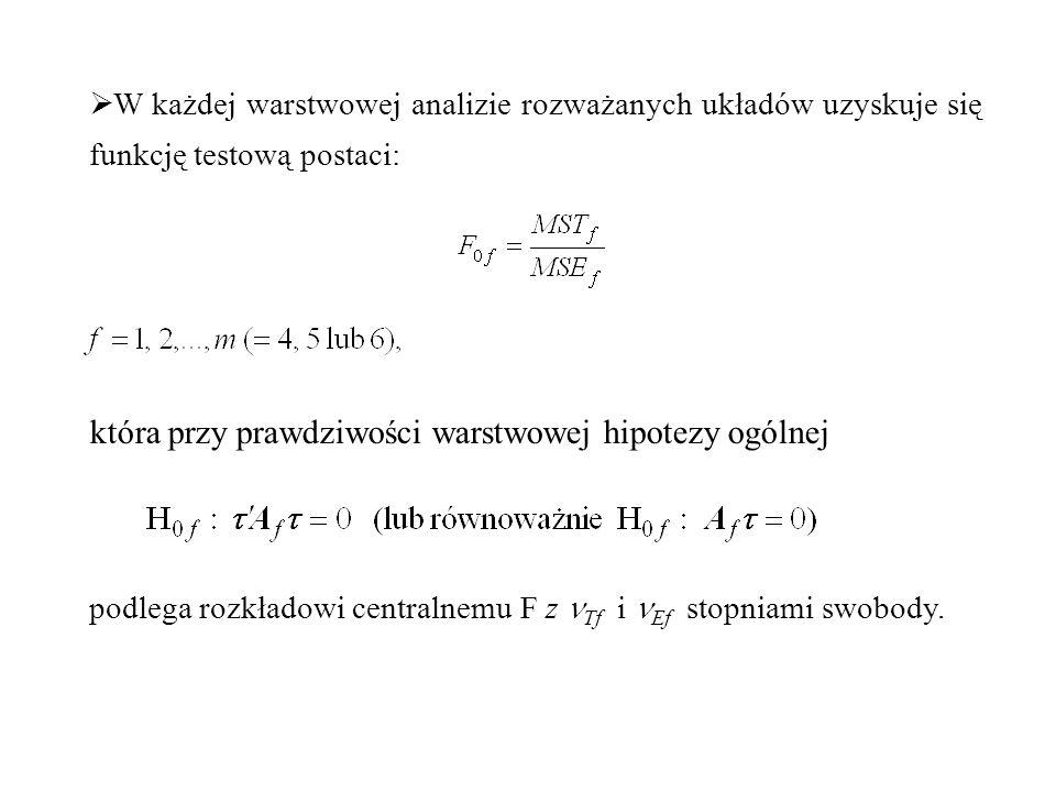  W każdej warstwowej analizie rozważanych układów uzyskuje się funkcję testową postaci: która przy prawdziwości warstwowej hipotezy ogólnej podlega r