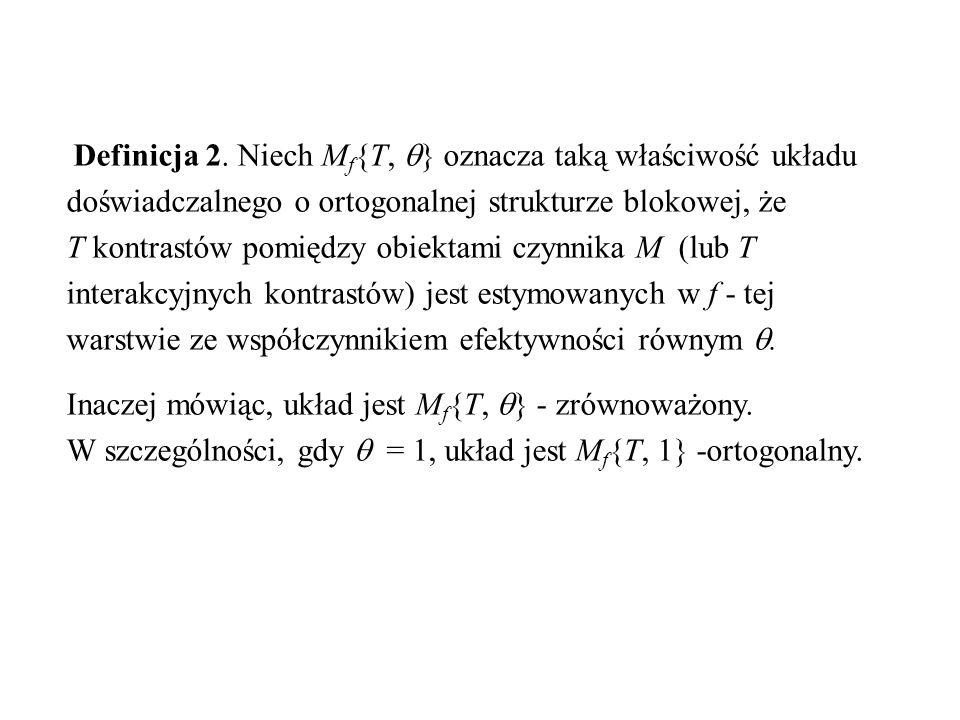 Definicja 2. Niech M f {T,  } oznacza taką właściwość układu doświadczalnego o ortogonalnej strukturze blokowej, że T kontrastów pomiędzy obiektami c