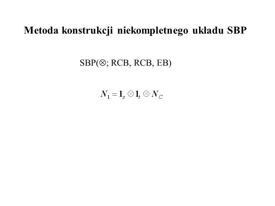 Metoda konstrukcji niekompletnego układu SBP SBP(  ; RCB, RCB, EB)