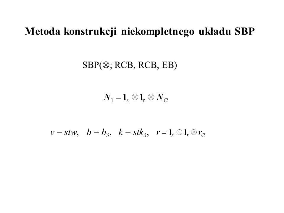 Metoda konstrukcji niekompletnego układu SBP SBP(  ; RCB, RCB, EB) v = stw, b = b 3, k = stk 3,