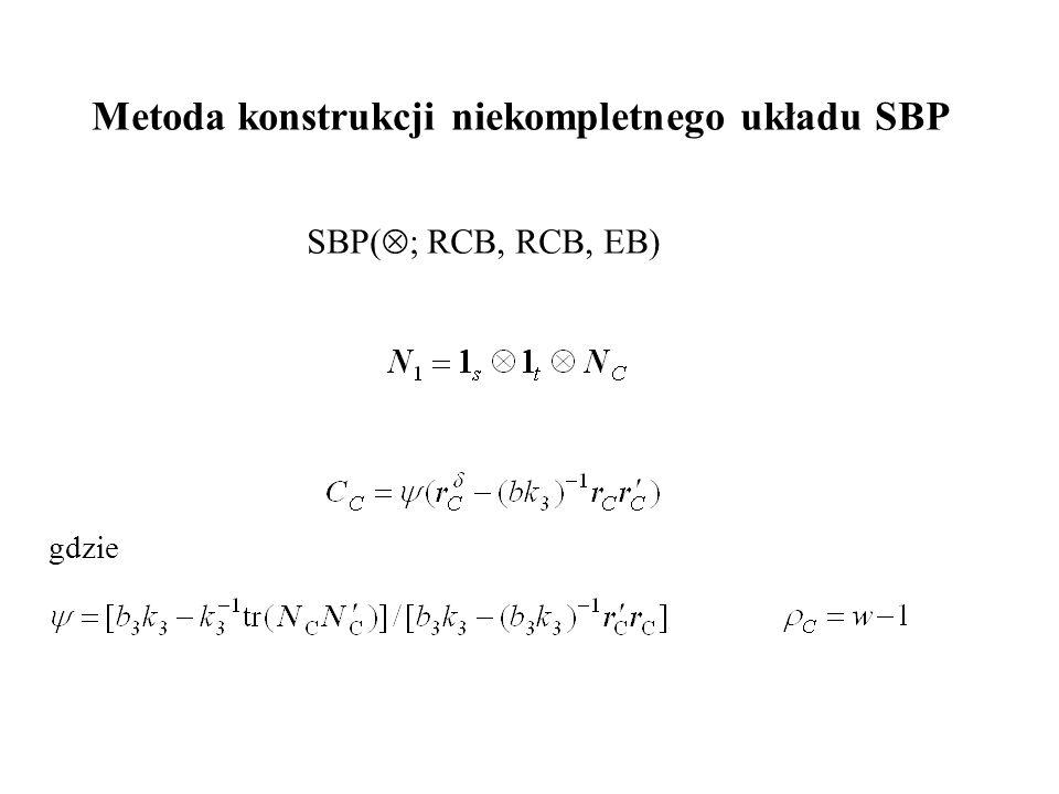 Metoda konstrukcji niekompletnego układu SBP SBP(  ; RCB, RCB, EB) gdzie
