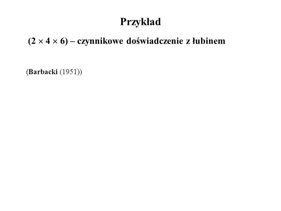 Przykład (2  4  6) – czynnikowe doświadczenie z łubinem ( Barbacki (1951))