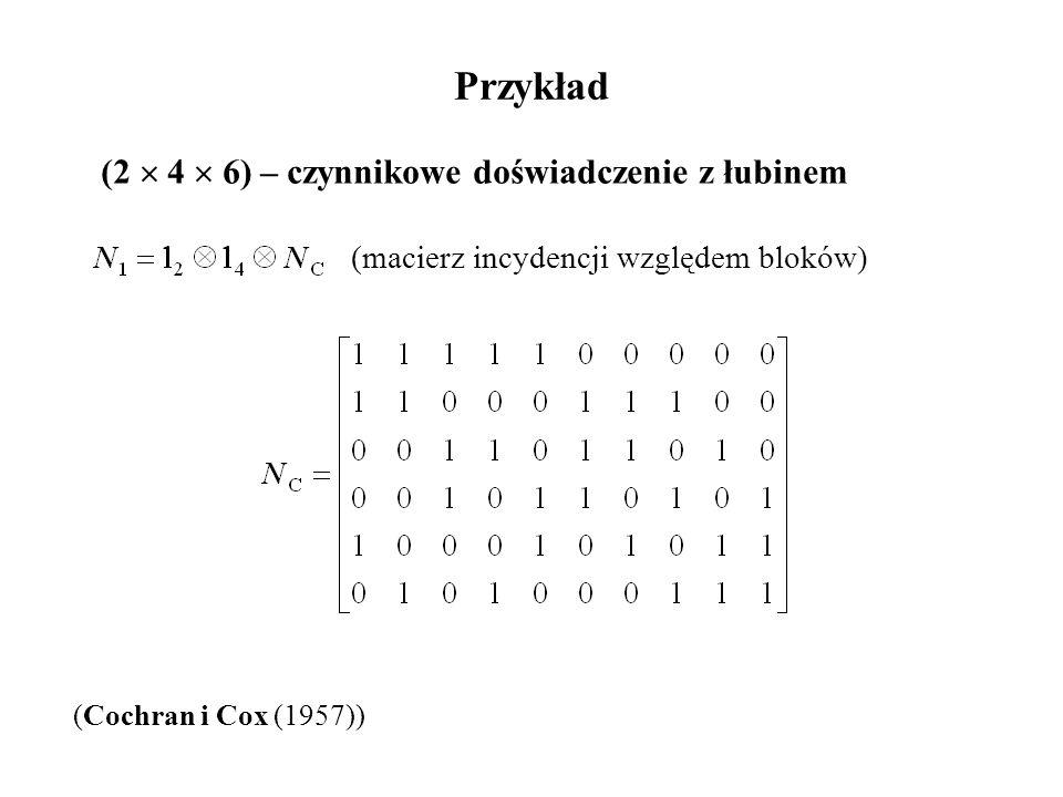 Przykład (2  4  6) – czynnikowe doświadczenie z łubinem (Cochran i Cox (1957)) (macierz incydencji względem bloków)