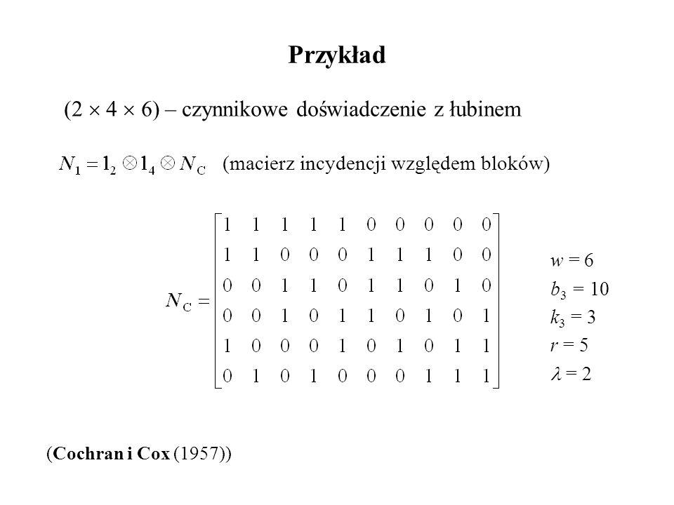 Przykład (2  4  6) – czynnikowe doświadczenie z łubinem (Cochran i Cox (1957)) (macierz incydencji względem bloków) w = 6 b 3 = 10 k 3 = 3 r = 5 = 2