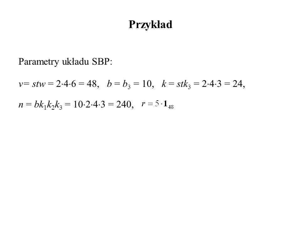 Przykład Parametry układu SBP: v= stw = 2  4  6 = 48, b = b 3 = 10, k = stk 3 = 2  4  3 = 24, n = bk 1 k 2 k 3 = 10  2  4  3 = 240,