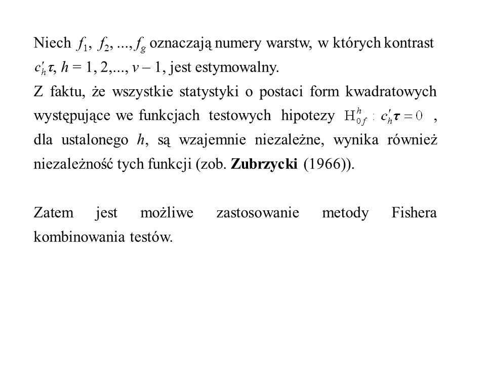Niech f 1, f 2,..., f g oznaczają numery warstw, w których kontrast, h = 1, 2,..., v – 1, jest estymowalny. Z faktu, że wszystkie statystyki o postaci