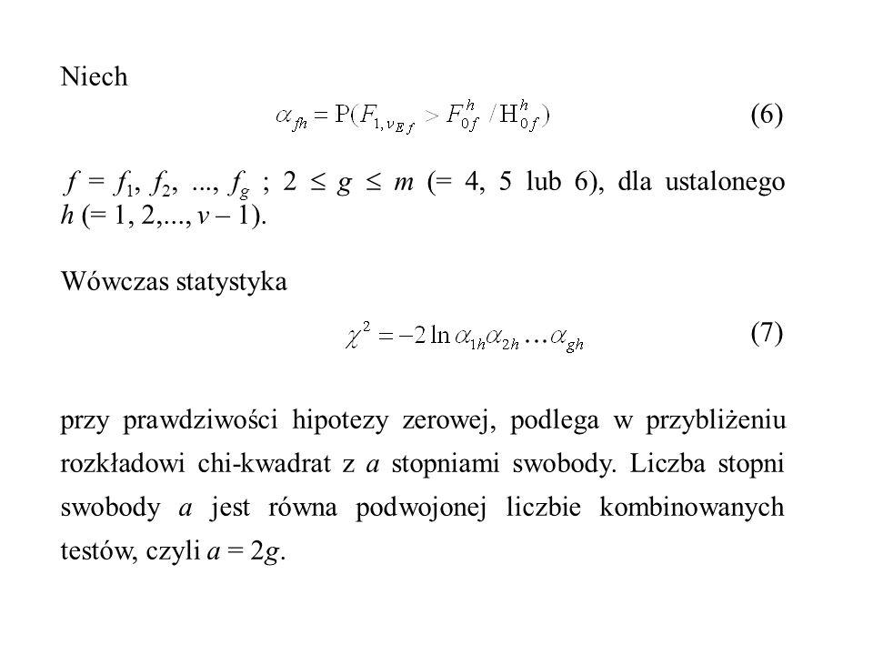 Niech (6) f = f 1, f 2,..., f g ; 2  g  m (= 4, 5 lub 6), dla ustalonego h (= 1, 2,..., v – 1). Wówczas statystyka (7) przy prawdziwości hipotezy ze